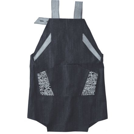 Denim apron dyed with a fine Kyo-komon pattern